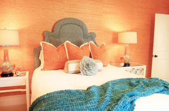 Сочетание персикового цвета с оранжевым в интерьере