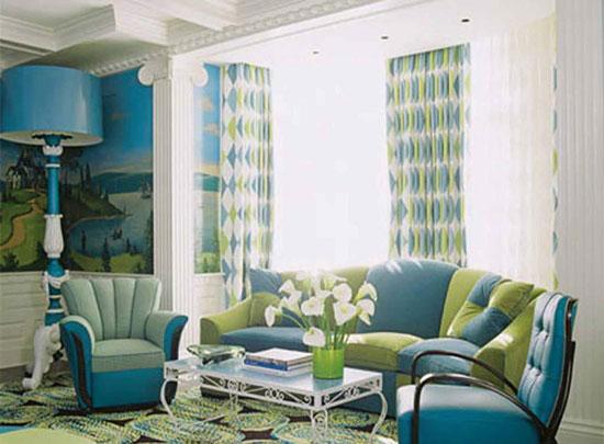 Сочетание голубого и зеленого цвета в гостиной