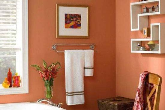 Персиковый цвет в интерьере ванной комнаты