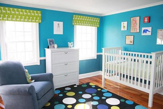 Использование голубого и зеленого цвета в интерьере детской комнаты