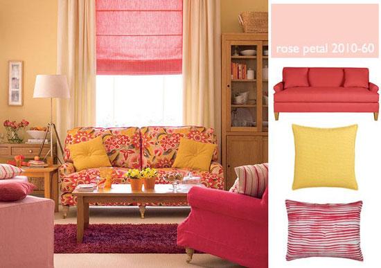 Персиковый цвет в гостиной