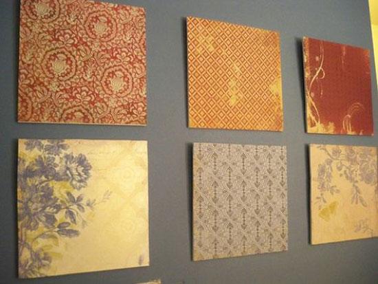 Использование цветных полотен для оформления пустой стены
