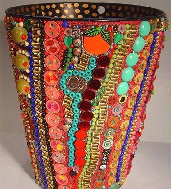 Декор для вазы из пуговиц