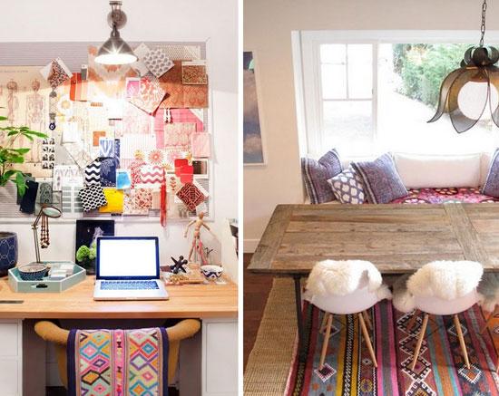 Стиль бохо в интерьере рабочего кабинета и столовой