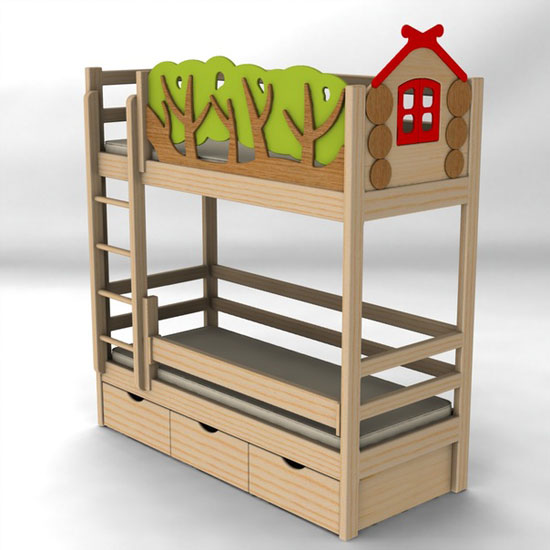 Двухярусная кровать с бортиками