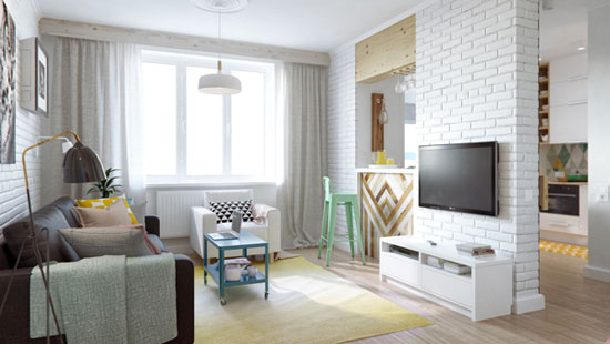 Awesome-small-home-design-living-room-ideas-brown-main-sofa-white-small-sofa-yellow-carpet-blue-living-table-white-brick-wall-small-home-bar-white-curtain-floor-lamp-wooden-floor-whi