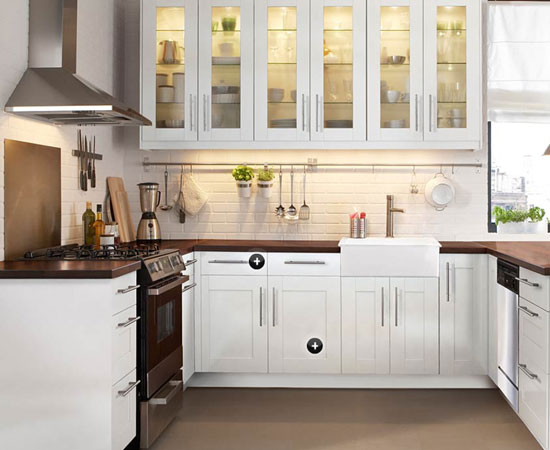 kitchens-chic-white-brick-wall-ikea-u-shaped-kitchen-design-with-wooden-countertop-and-two-pendant-lamps-also-white-cabinets-top-15-modern-ikea-kitchen-design-inspirations