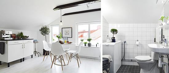 Кухня и ванная комната в шведской квартире