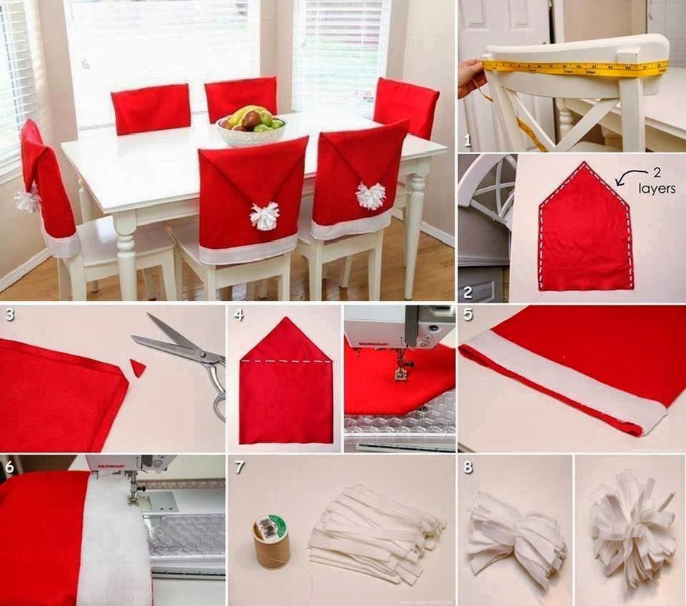 Чехлы Санта-Клауса на стулья к новогоднему столу своими руками