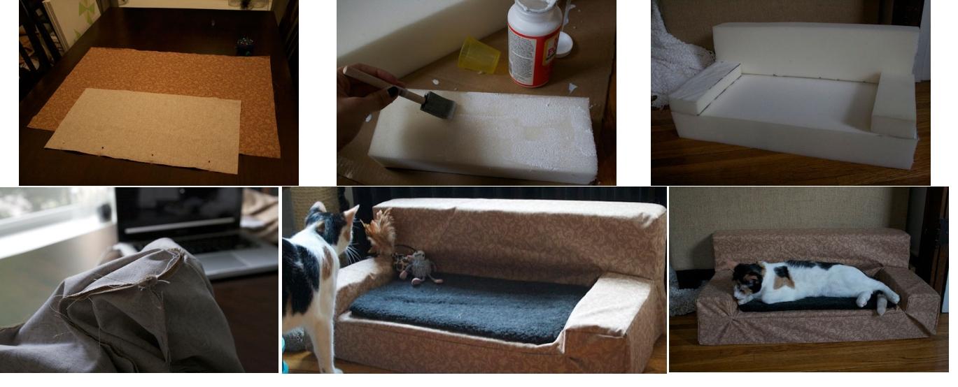 Диванчик для кошки из поролона и ткани своими руками