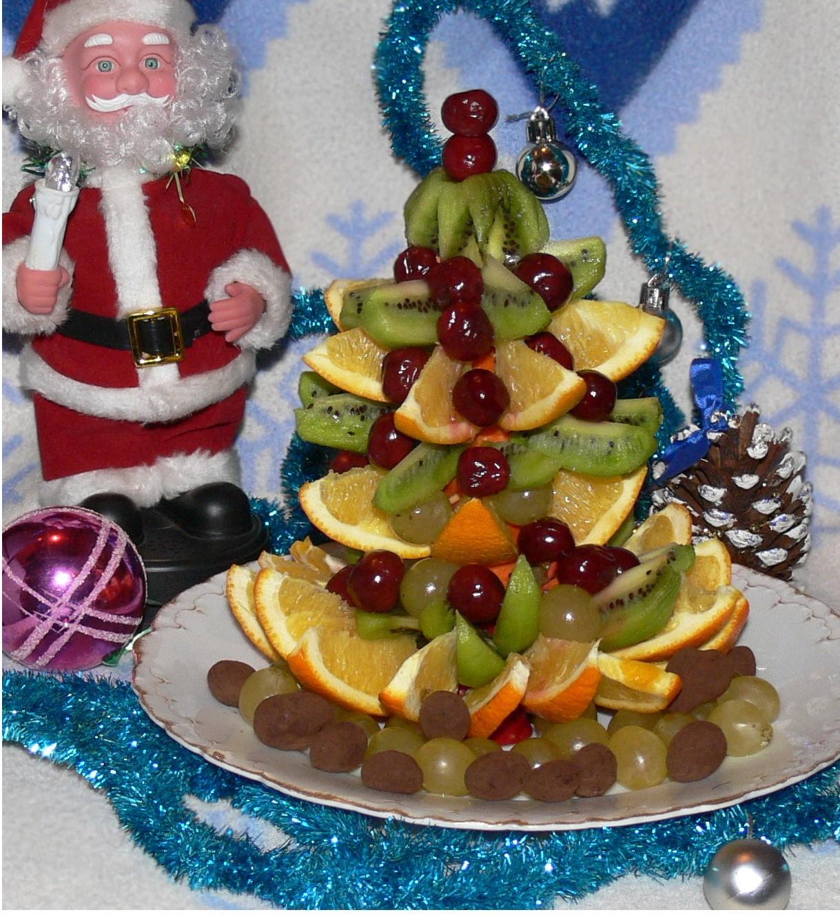 Елочка из фруктов на Новый Год