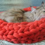 Фото 77: Лежанка для кошки из крупной пряжи