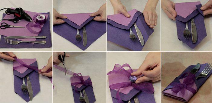 Как сделать карман для приборов из салфеток
