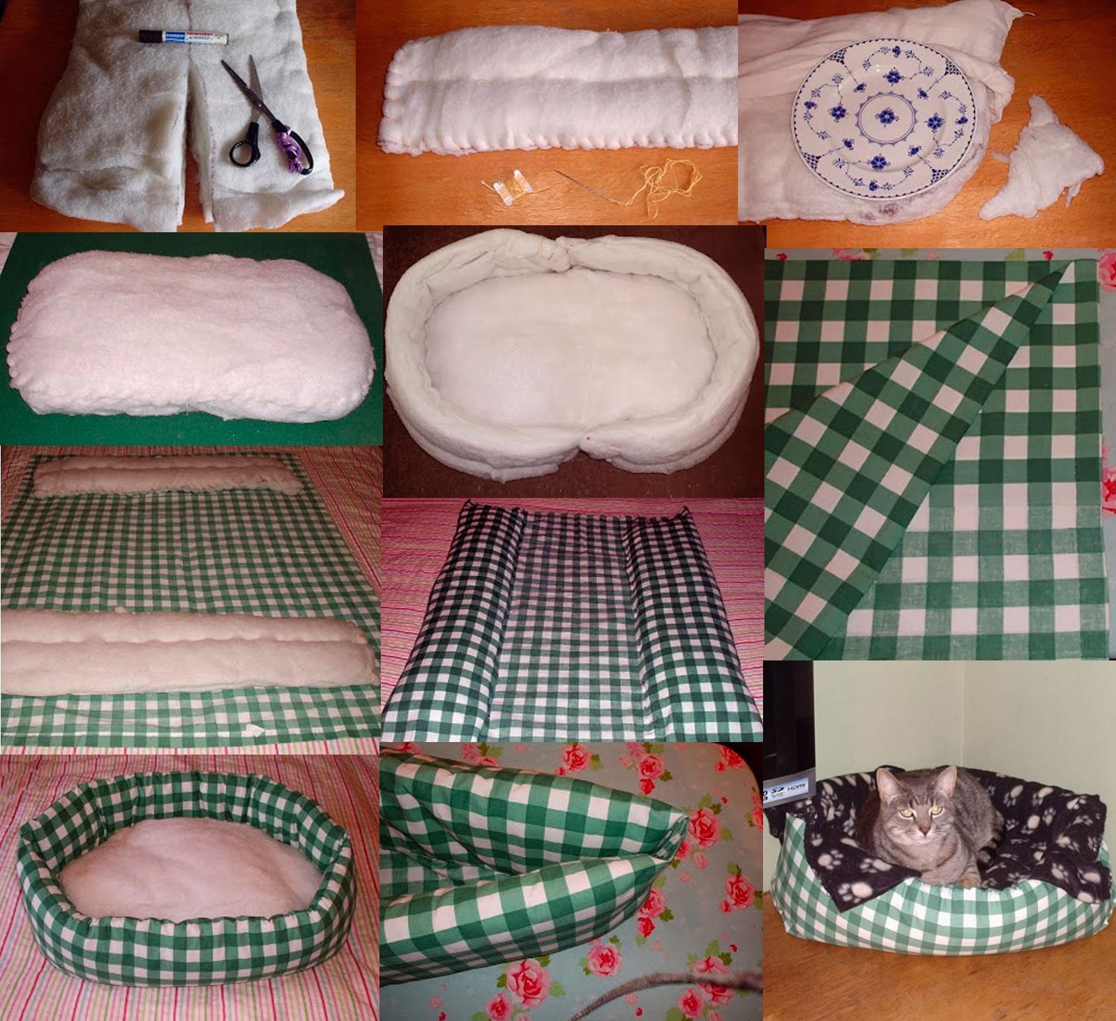 Изготовление мягкой лежанки для кошки из ткани и синтепона с бортиками