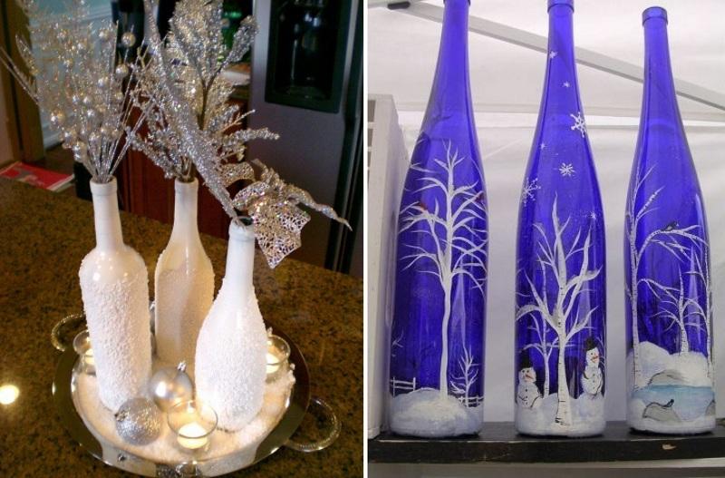 Декор новогодних ваз из бутылок