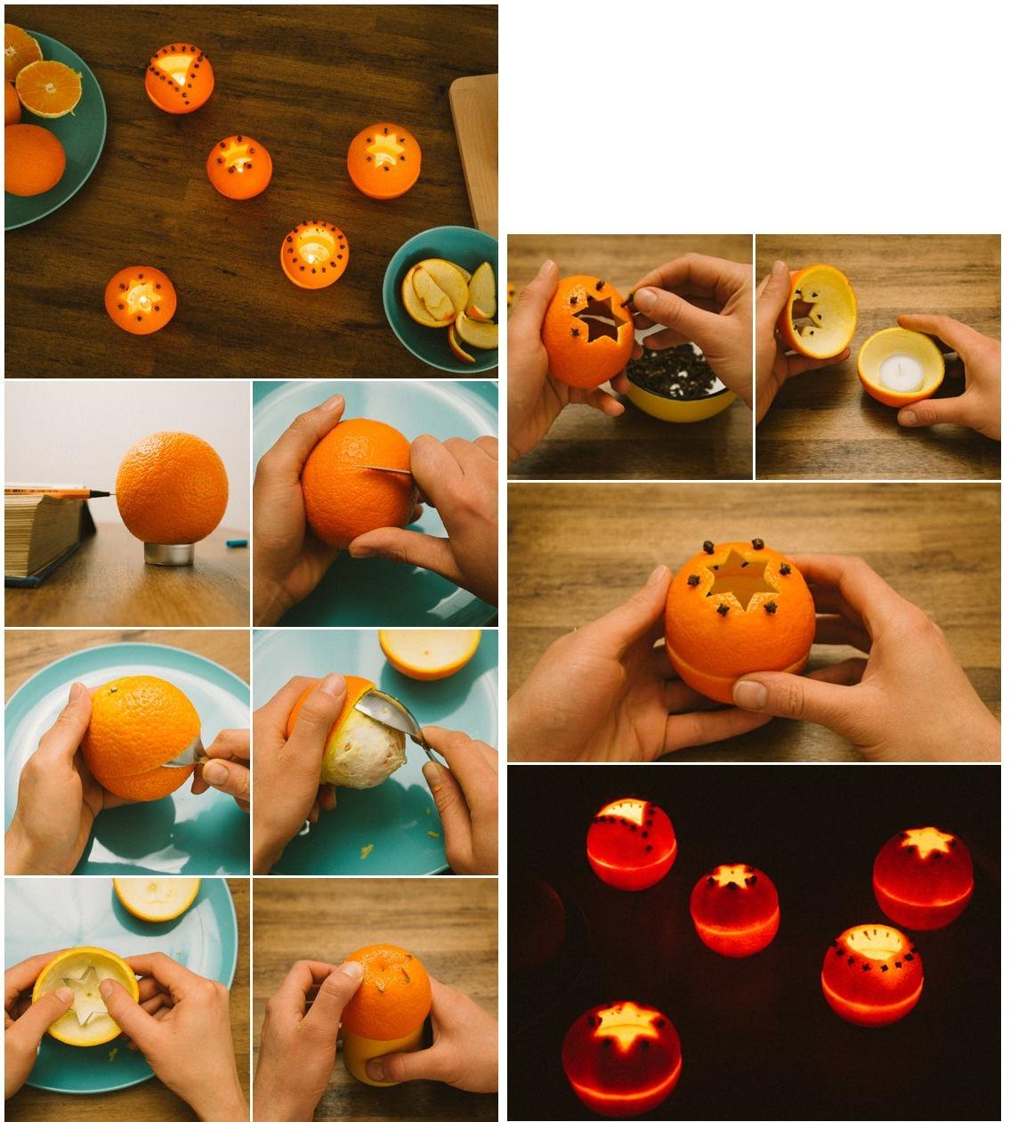 Новогодние подсвечники из апельсинов своими руками