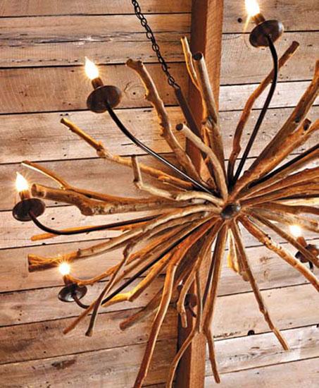 Деревянная люстра может быть изготовлена своими руками