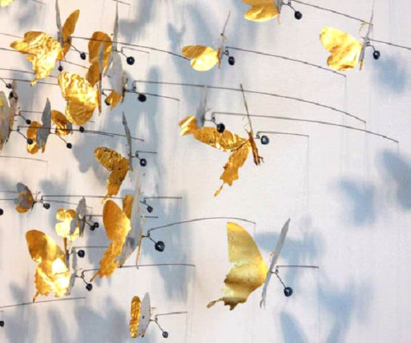 бабочки на булавке на стене