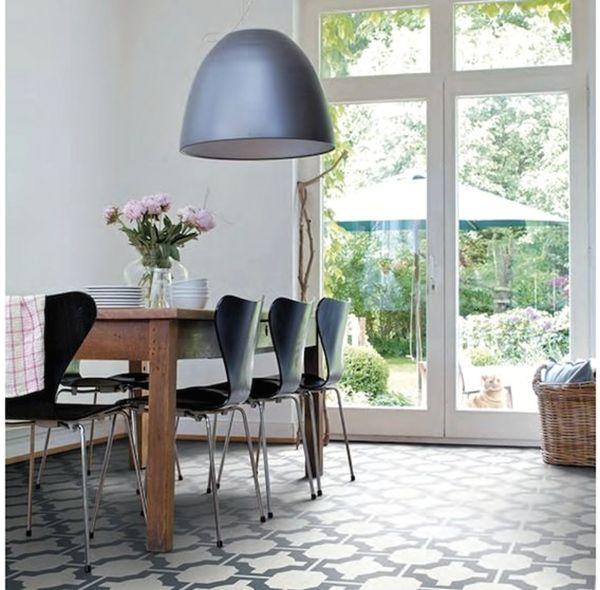 пол с виниловой плиткой на кухне