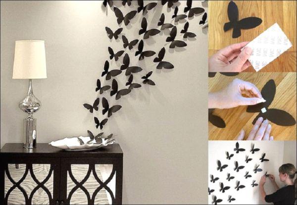 украшение стены бабочками из бумаги