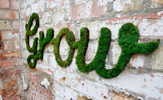 Граффити из мха на стене дачного дома