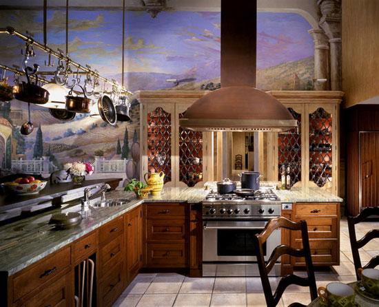 Фотообои-пейзажи в интерьере кухни