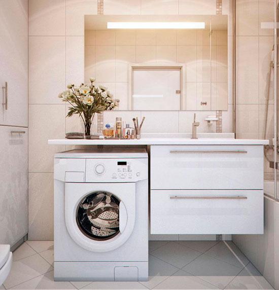 Дизайн ванной комнаты маленького размера со стиральной машиной