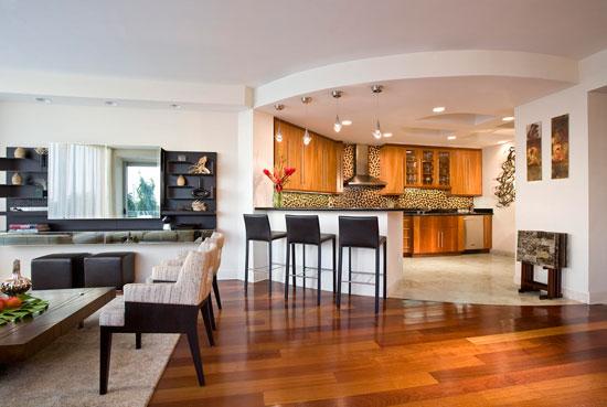 Зонирование в интерьере гостиной-кухни