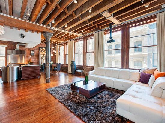 Интерьер гостиной, совмещенной с кухней и столовой в стиле лофт