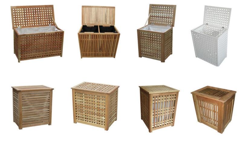 Деревянные корзины для белья
