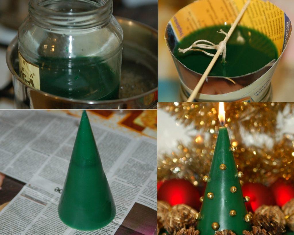 Как сделать свечку своими руками елочку на Новый Год