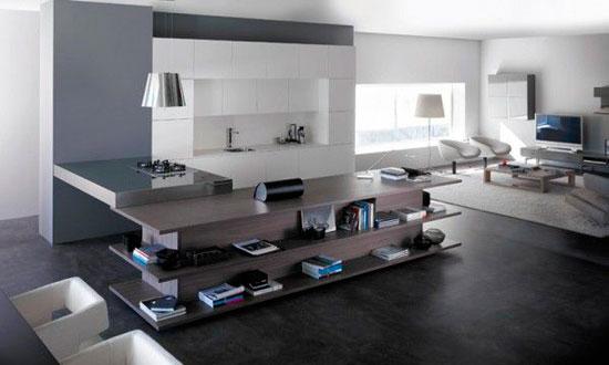 Интересная дизайнерская находка — кухонный стол с одной стороны и книжная полка с другой
