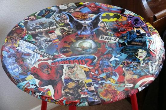 Даже комиксы можно использовать для придания нового вида старой мебели