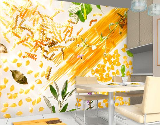 Жизнерадостная расцветка фотообоев в интерьере кухни