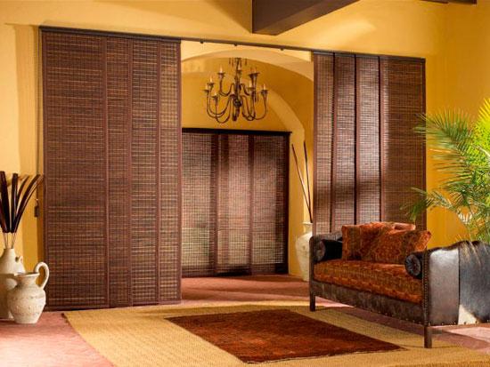 Декор раздвижных дверей для гардеробной из ротанга