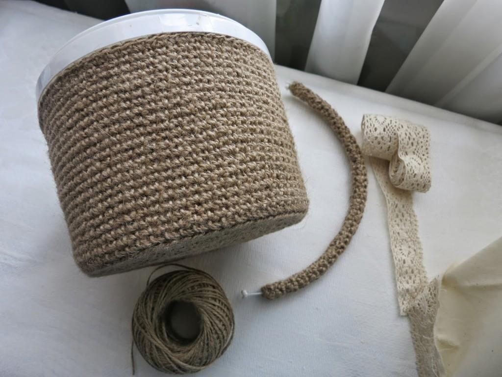 Отделка корзины для белья шнуром