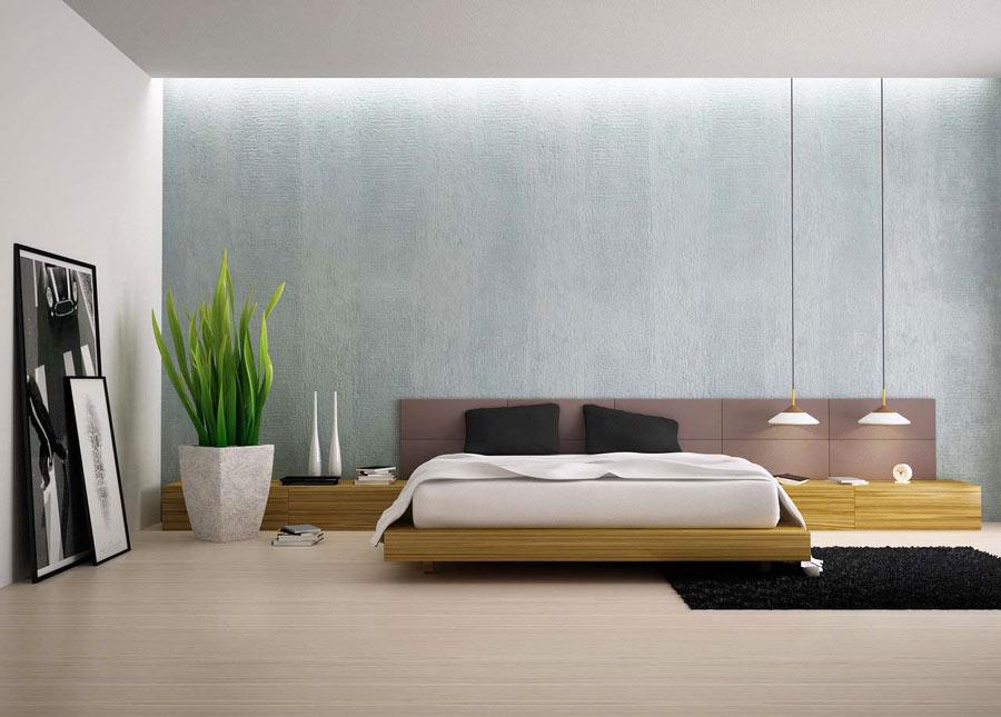 Растение в дизайне спальни в стиле минимализм