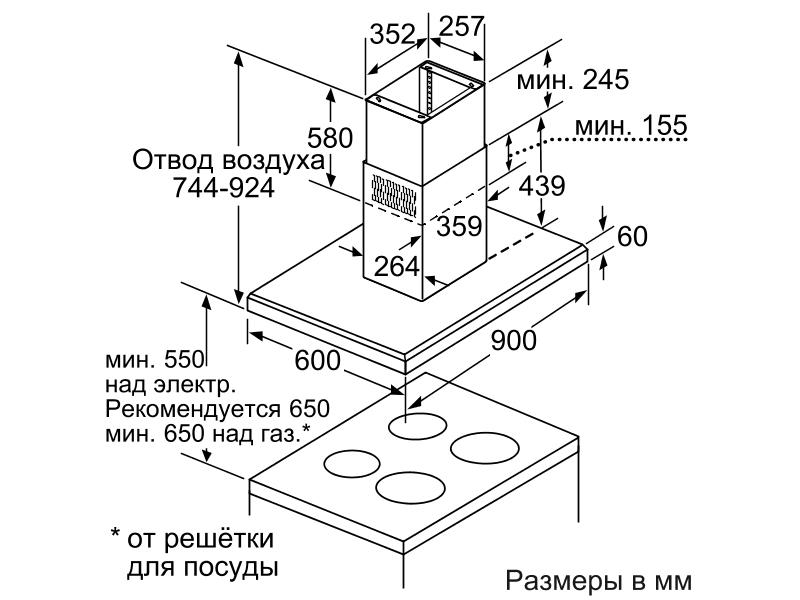 Примерные размеры кухонной вытяжки