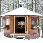 Фото 45: Закрытая зимняя беседка с камином
