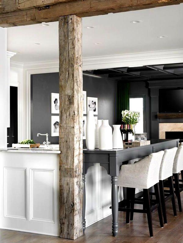 Барная стойка для кухни с деревянной колонной фото