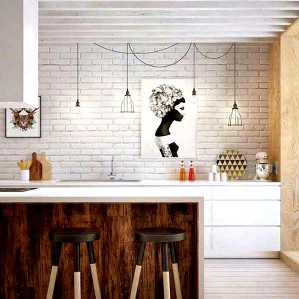 Барная стойка для кухни белая с деревом