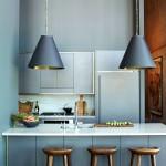 Фото 36: Барная стойка для кухни с лампами