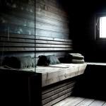 Фото 15: Темный интерьер бани