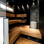 Фото 10: Темный интерьер бани