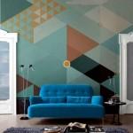 Фото 50: Обои для гостиной геометрические фигуры