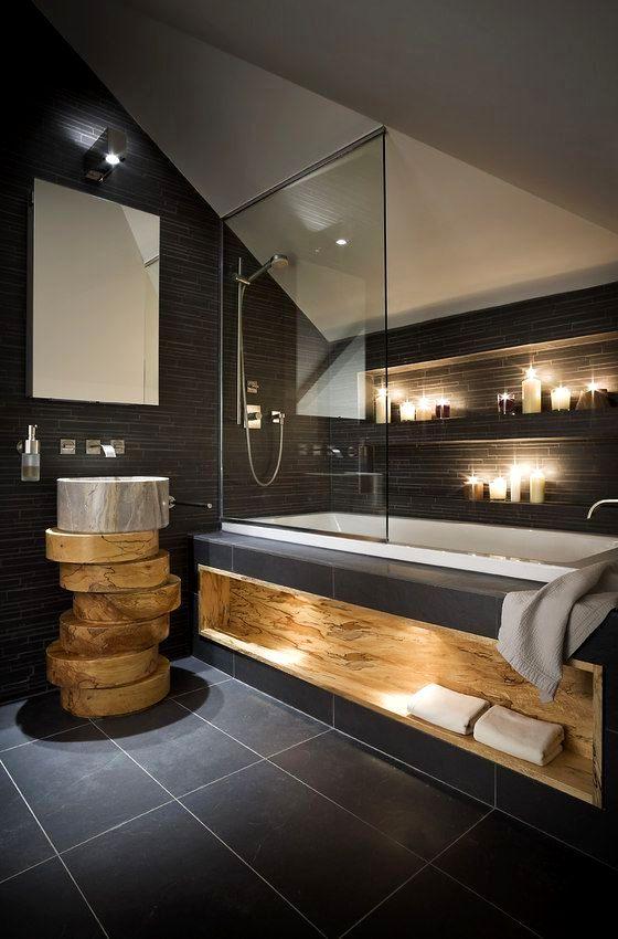 Темный кафель для ванной комнаты