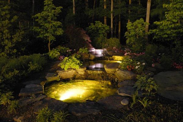 Пруд с подсветкой в ландшафте