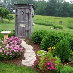 Фото 197: Клумба из цветов около туалета