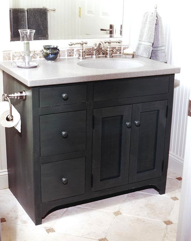 Чёрные шкафчики для ванной