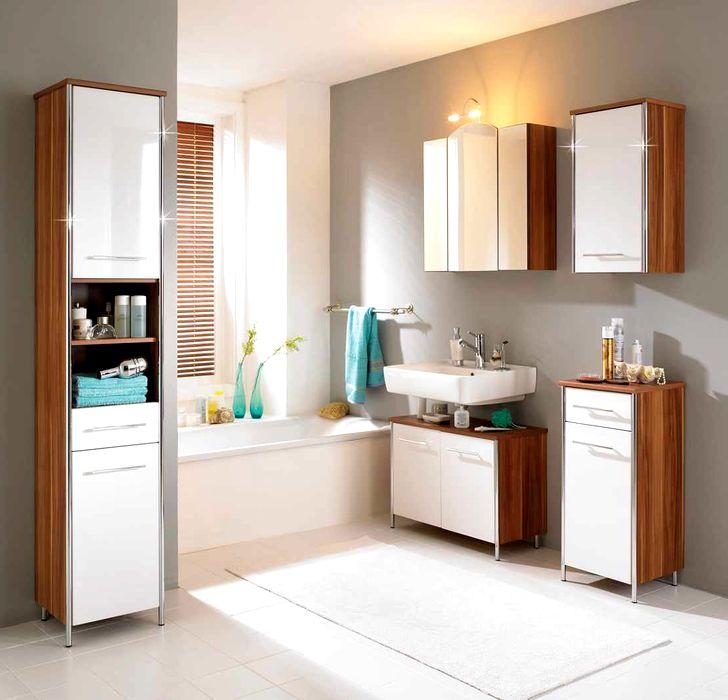 Шкафчики для ванной белые с деревом